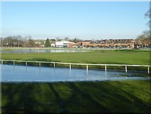 SO8455 : Floodwater on Worcester Racecourse by Philip Halling