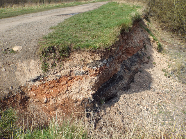 Made-up ground exposed by erosion of lake shore, Chasewater near Brownhills