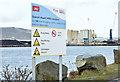 J3575 : Water safety notice, Titanic Quarter, Belfast (January 2016) by Albert Bridge
