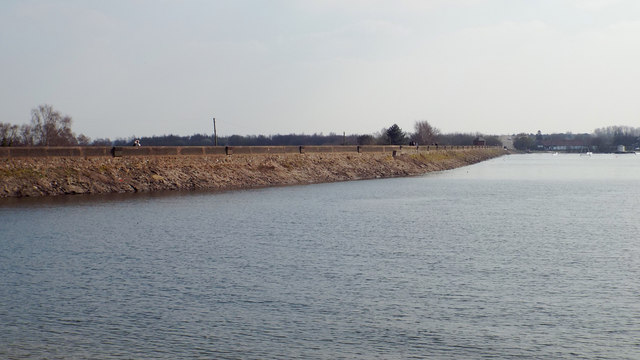 View of the dam from near the water's edge, Chasewater