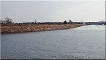 SK0407 : View of the dam from near the water's edge, Chasewater by Robin Stott