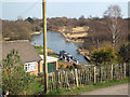 SK0407 : The canal basin below the dam, with boat, Chasewater country park by Robin Stott