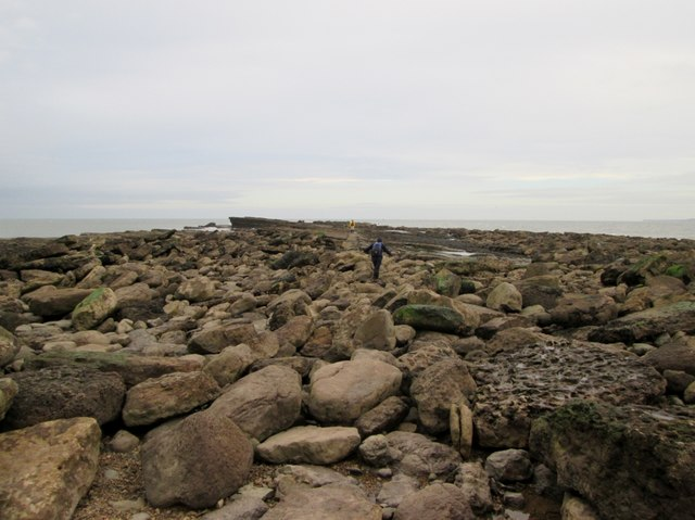 The  rocky  end  of  Filey  Brigg