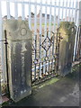 SJ2969 : Southern gateposts for the demolished Custom House Lane CP School by John S Turner