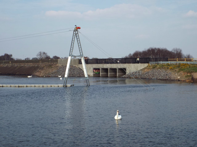 Overflow culverts and a cableway pylon, Chasewater