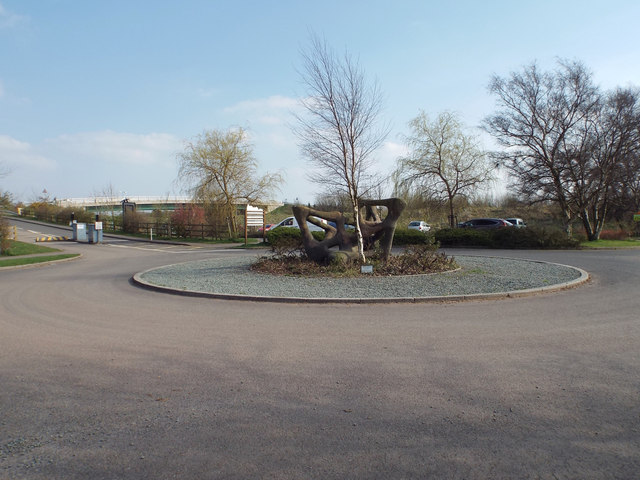 Turning circle with sculpture at the entrance to Chasewater country park