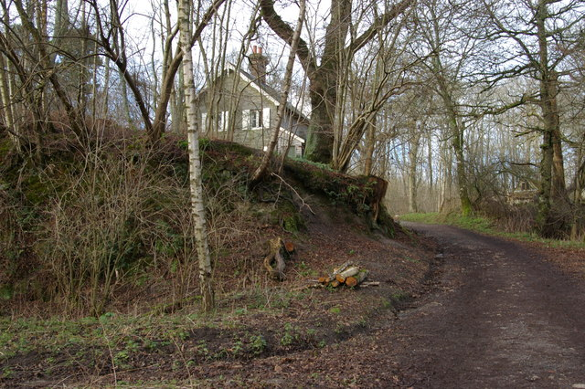 Track climbing past Woodlands Cottage, Nymans Woods