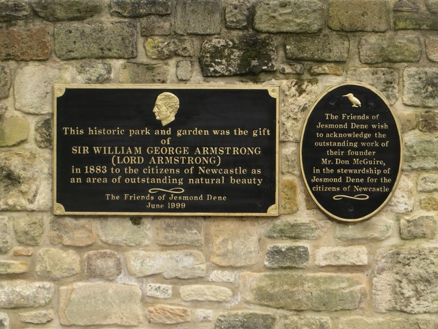 Plaques on the visitor centre wall, Jesmond Dene