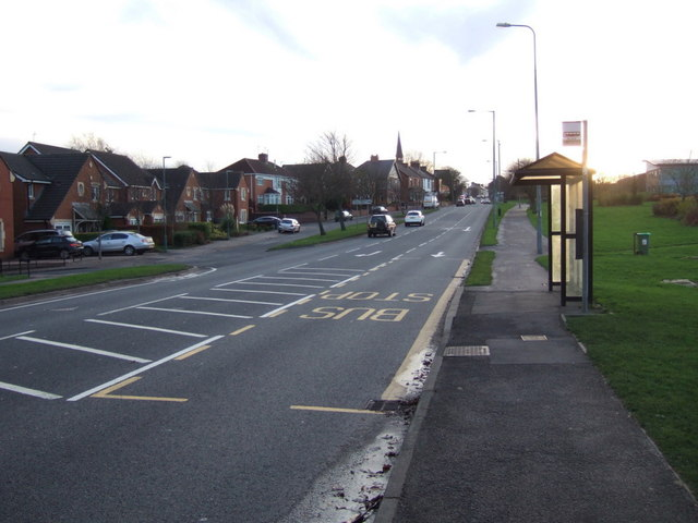 Bus stop and shelter on High Street (A690), Meadowfield
