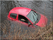 SD9417 : Red car in Rochdale Canal by michael ely