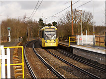 SD7807 : Tram Approaching Radcliffe Station by David Dixon