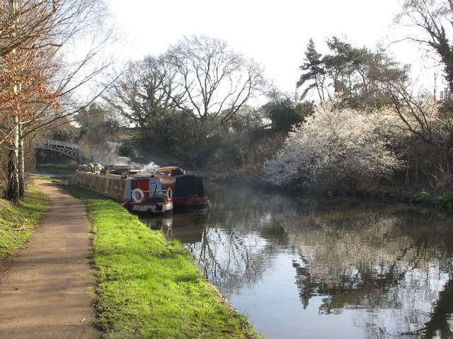 Where 2 Now - narrowboat on Grand Union Canal, and Gallows Bridge by David Hawgood