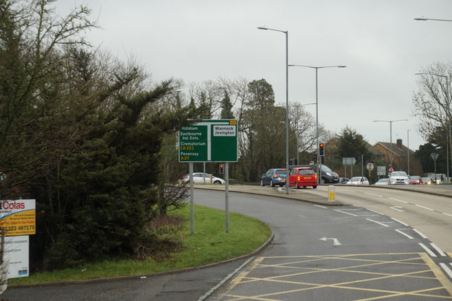 The A27 eastbound at the A2270