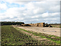 TM1780 : Straw bales stored on the old perimeter track by Evelyn Simak