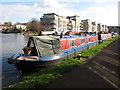 TQ1777 : Solitaire, narrowboat moored in Brentford Lock basin by David Hawgood