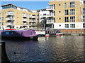 TQ1777 : Daddy Longlegs, narrowboat moored in Brentford Lock basin by David Hawgood