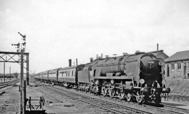 Poole - Sheffield express entering Basingstoke, 1965
