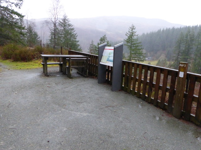 Picnic area at viewpoint overlooking Glasdir Copper Mine