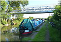 SJ6075 : Narrowboats next to the Valley Farm Pipe Bridge by Mat Fascione