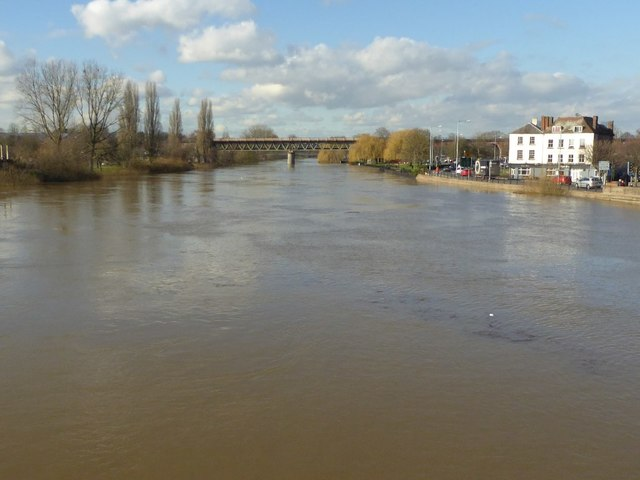 The flooded River Severn at Worcester