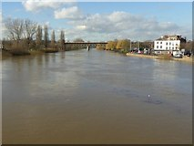 SO8454 : The flooded River Severn at Worcester by Philip Halling
