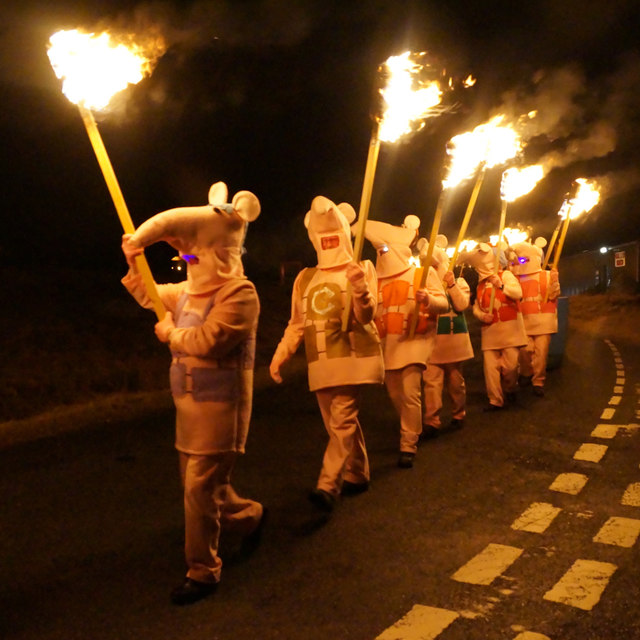 Guisers in the procession, Uyeasound Up Helly Aa 2016