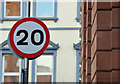 J3374 : 20 mph speed limit sign, Library Street, Belfast (February 2016) by Albert Bridge