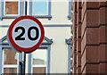 J3374 : 20 mph speed limit sign, Library Street, Belfast (February 2016) by Albert Bridge