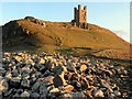 NU2521 : Lilburn Tower, Dunstanburgh Castle by Andrew Curtis