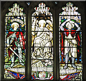 TF5617 : Stained glass memorial window at Tilney All Saints by Adrian S Pye