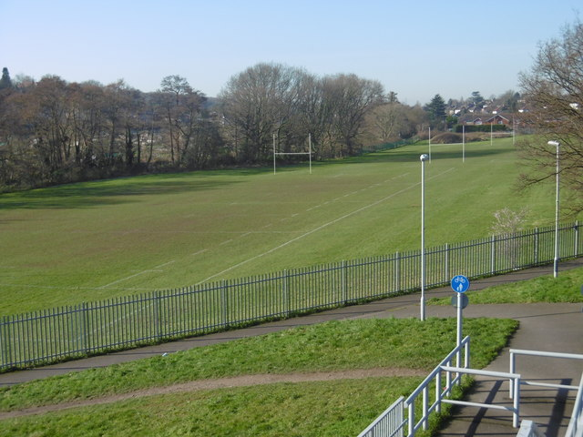 Rugby pitches next to the River Shuttle
