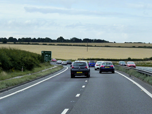 Southbound A1 approaching Darrington Service Area