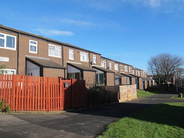 Backs of houses on Rossefield View, Bramley