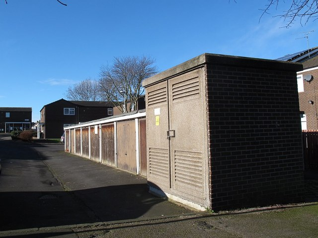 Substation and lock-up garages, Rossefield View, Bramley