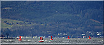 NS2677 : Red buoys in the Firth of Clyde by Thomas Nugent