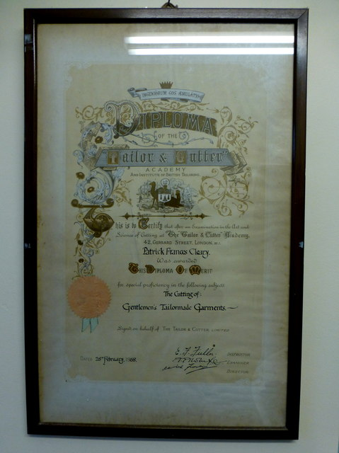 "Diploma for the ""Tailor & Cutter"" Academy"