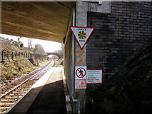 SM9310 : Signs facing the southern end of Johnston railway station by Jaggery