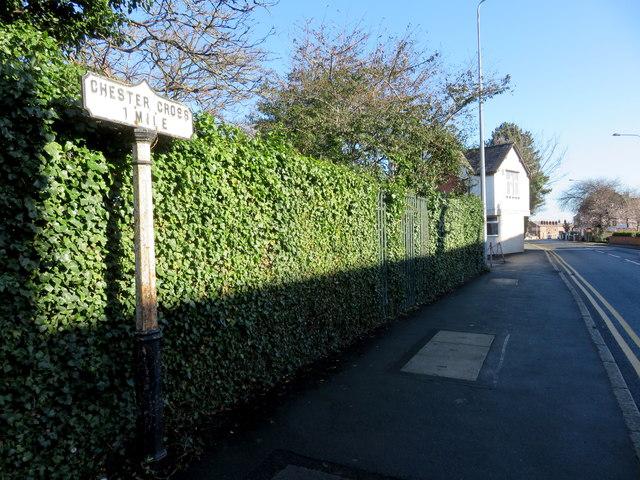 'Chester Cross 1 Mile' marker post in Tarvin Road