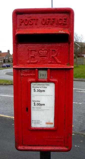 Close up, Elizabeth II postbox on Fir Tree Drive, Filey