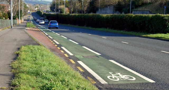 Cycle lane, Cregagh, Belfast - February 2016(1)