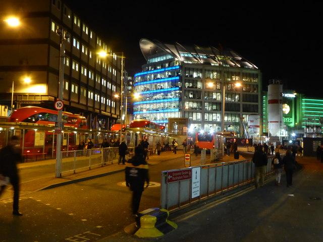 Bus ranks at Victoria Station at night