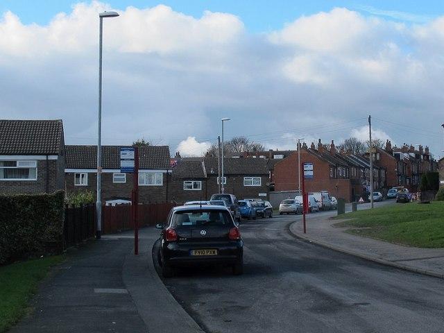 Bus stops, Rossefield Grove, Bramley