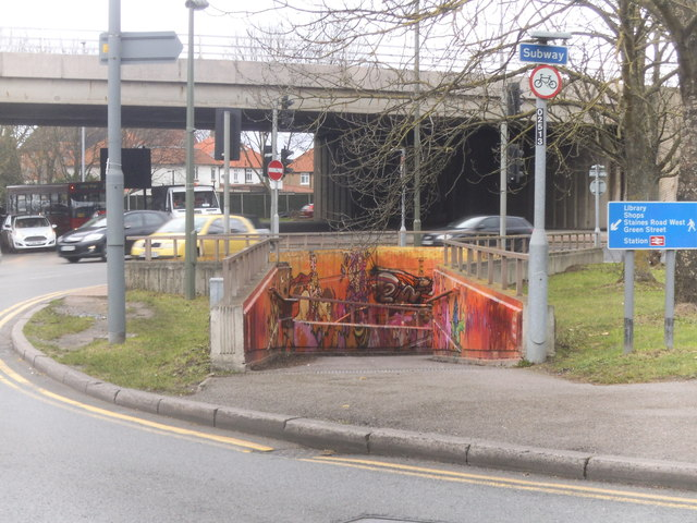 Decorated subway by the Sunbury Roundabout