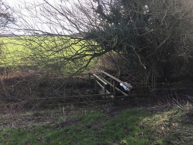 Audley: wooden footbridge over stream near Yewtree Farm