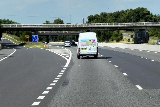 Northbound M1, Exit Sliproad at Junction 36 and Tankersley Lane Bridge