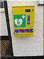 TM3067 : Defibrillator at Badingham Village Hall by Adrian Cable