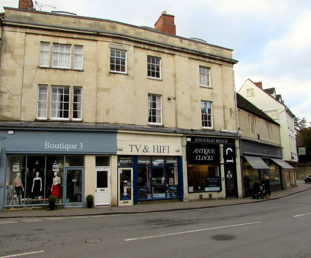 Shops at the northern end of West Market Place, Cirencester