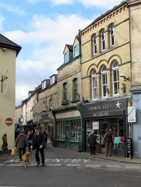 Walking the dog in the centre of Cirencester