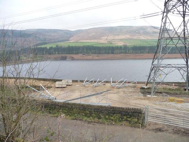 Work-site on the south bank of Torside Reservoir