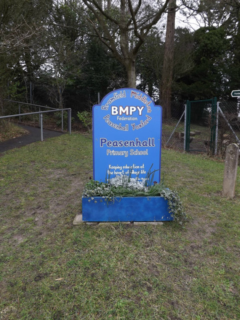Peasenhall Primary School sign